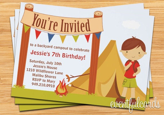Camping birthday party invitation fully customizable filmwisefo
