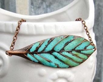 Leaf Necklace gardener gift Bohemian jewelry rustic copper patina Pendant necklace