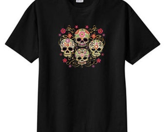 Gothic Sugar Skulls New  T Shirt S M L XL 2X 3X 4X 5X Day Of The Dead