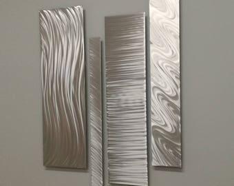 Natural Silver Modern Metal Wall Accent, Multipanel Wall Sculpture, Modern Wall Decor, Contemporary Accent, Metal Wall Art, Silver Wall Art
