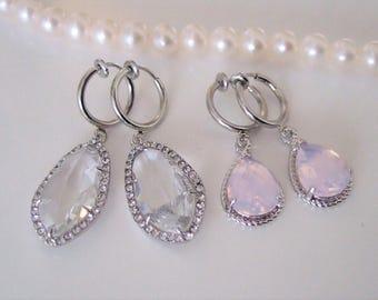 Bridal Rhinestone Earrings,Clip on earrings,Crystal Wedding Earrings,Statement earrings,Pink opal,Clear crystal earrings for unpierced ears
