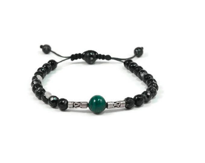 Urban Men's Agate Panda & Malachite Pull Tie Single Bracelet. Boho Jewelry. Bohemian Jewelry. Ideas for him. Gift for him.