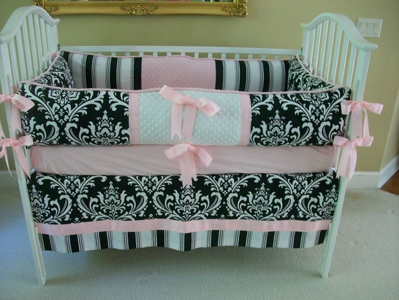 items similar to black and white and pink baby bedding set on etsy. Black Bedroom Furniture Sets. Home Design Ideas
