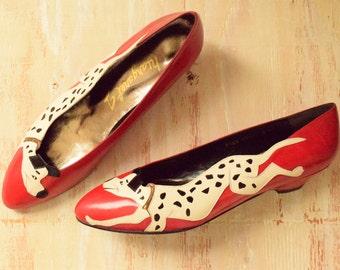 Vintage 1980's Margaret J. Shoes   Novlety  Dalmatian Dog Flats   All Leather Shoes    Size 8 M