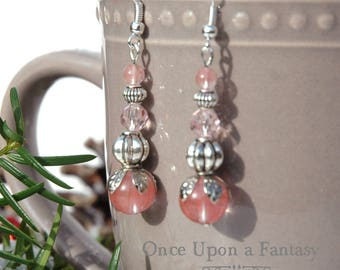 Vintage style earrings pink pearls - Once Upon a Fantasy