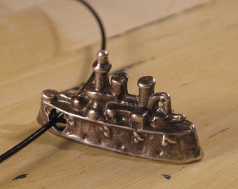 Cast Sterling Bronze Ship Pendant