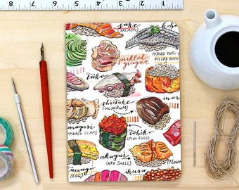 sushi notebook, blank, journal, sashimi, illustration, nigiri, shopping list, jotter.