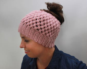 Messy Bun Beanie, Top Knot Hat, Ponytail Hat, Crochet winter hat, Messy Bun Hat, Bun Hat, Blush
