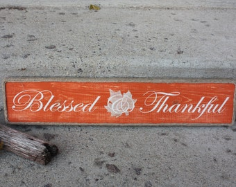 Blessed-Thankful-Fall-Blessed & Thankful-Autumn-Leaf-Maple Leaf-Orange-Antique White-Gold-Twine-Jute-Decor-Wall Decor-Handmade-Painted