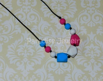 Chew Beads Teething Necklace Nursing Necklace for Mommy and Baby Food-Grade Silicone Baby Safe Gift for Her