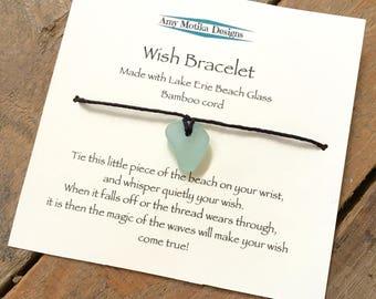 Lake Erie Beach Glass Wish Bracelet, Bamboo Bracelet, Beach Glass Bracelet, Lake Erie, Beach Glass