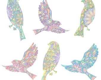 Pastel Bird Decals - Set of 6 Peel & Stick Floral Bird Stickers