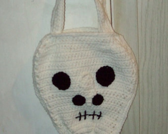 Skeleton Tote Skull Bag Halloween Bag  Kids Trick Or Treat Bag Crochet Purse