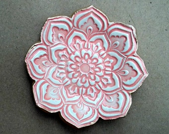 Ceramic Coral Lotus Ceramic Ring Dish