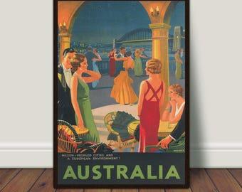Australia Travel Print, Dance Print, Vintage Travel Poster, Dancers, Romance, PRINTABLE Art, Large Wall Art, Large Print, Digital Download