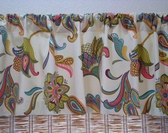 Covington Savannah  Curtain Kitchen Curtain Valance Mariner Blue/Cream/Surf 52x12 52x14 52X16 or 52X18