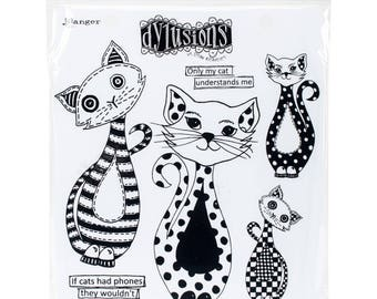 """Dyan Reaveley's Dylusions Cling Stamp Collections 8.5""""X7"""" - PUDDY CATS"""