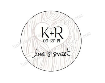 """Tree Trunk Initials - CUSTOM 2"""" Wedding Labels - Personalized - Favor -KRAFT or WHITE -Brown Bag-round seals/Stickers/labels addresst"""