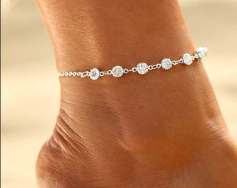 Silver Crystal Ankle Bracelet. With 2 Inch Extender Chain.