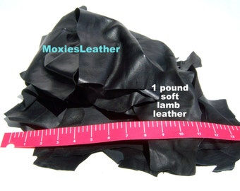 Black leather pieces remnants only black crafts,one pound of leather remnants