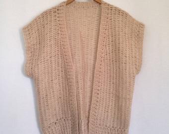 1980s oyster loose knit boxy vest
