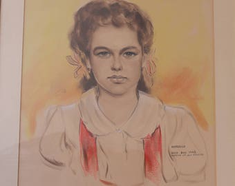 Original pastel drawing of young girl- 1940s Los Angeles street art