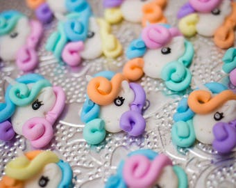 12 x Rainbow Unicorn flatback beads polymer clay