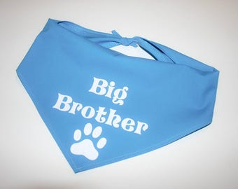 Dog BANDANA, Custom Dog Bandana, Personalized Dog Bandana, Big Brother, Dog Scarf, Pink, Blue, Grey, Navy, White Vinyl