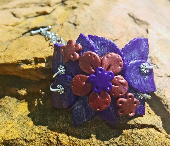 Blossom bangle bracelet, polymer clay