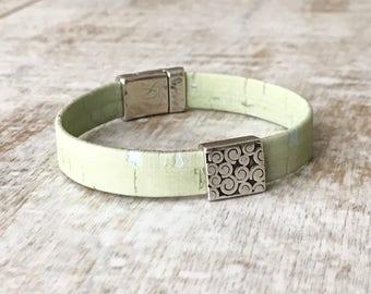 Mint Cork Bracelet, Mint Cuff Bracelet, Cork Bracelet, Stackable Bracelet, Magnetic Clasp
