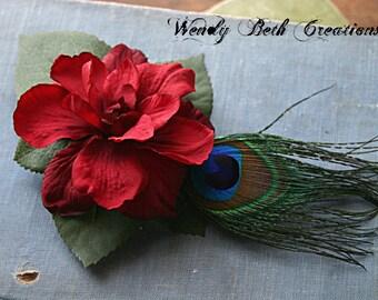 Simple Deep Red Gardenia Hair Clip Fascinator - Tribal, Belly Dance, Fairy, Renaissance Festival, Peacock Feather, Wedding - Made Upon Order