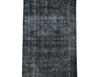 "7'4""x11'8"" Hand-Knotted Black Overdyed Tabriz Gallery Size Worn Rug"