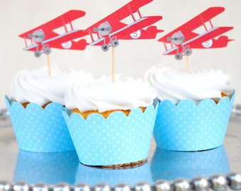 The Vintage Plane Collection - Custom Cupcake Toppers and Their Wraps from Mary Had a Little Party