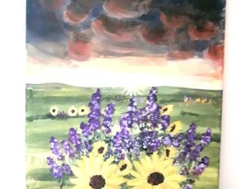 Sunflower painting on canvas, acrylic art