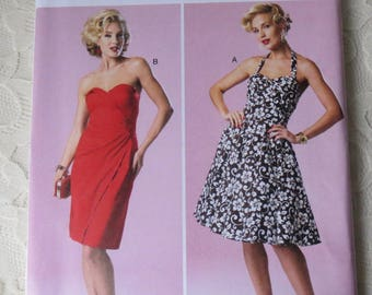 Butterick B6019 Sewing Pattern Dress with Halter Neck or Strapless Womens Size D5 12-20