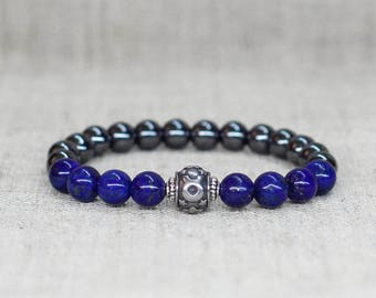 Blue lapis lazuli hematite gemstone jewelry Taurus constellation celestial zodiac bracelet Men women personalized gift idea for mom dad wife