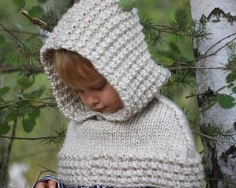 KNITTING PATTERN chunky hooded cowl - knitting hood pattern (2/3 to XL sizes), knitting hood, chunky cowl pattern, pdf pattern hood