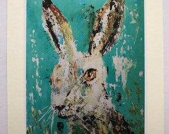 Benji the Hare small mounted print