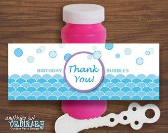 DIY Bubbles Favor Label for Mermaid Party, INSTANT DOWNLOAD printable digital file