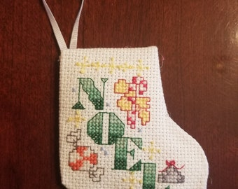 Cross stitched Christmas ornament
