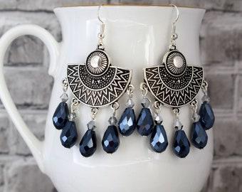 Blue statement earrings, Blue Aztec earrings, Tribal earrings, Silver chandelier earrings, Dark blue earrings, Gift for her, Gift under 10