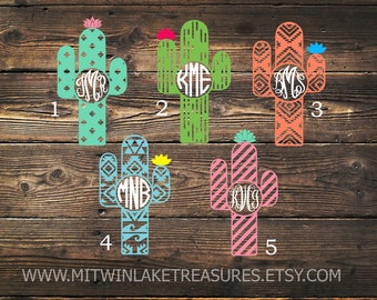 Cactus Monogram Decal / Custom Color, Size / Car, Yeti, Tumbler, Wall Sticker / Heart, Flower, Aztec, Accessories / Gift Under 5