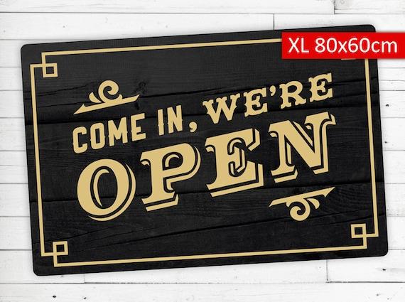 """Floor mat (kicker) motif """"come in were open"""""""