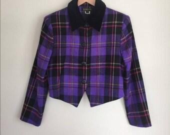 Vintage Georgiou purple plaid cropped jacket sz 6P