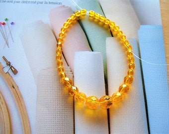 faceted Czech glass bracelet set of 36 beads yellow Buttercup, jewelry creations, manual and decoration