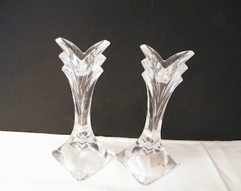 Mikasa Crystal Candle Stick Holders, vintage made in Slovenia crystal glass in excellent condition for wedding, birthday or special occasion