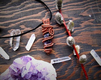 Amethyst and Copper Pendant // Wire Wrapped Jewelry // Gemstones // Crystals // Festival jewelry // Goddess // Wild Moon Child //