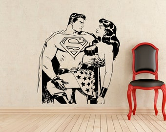 Superman and Wonder Woman Stickers Wall Vinyl Superhero Wall Decals Home Interior Teen Room Murals Art Decoration (243z)
