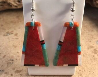 Santo Domingo Sterling Silver Multi Stone Dangle Earrings