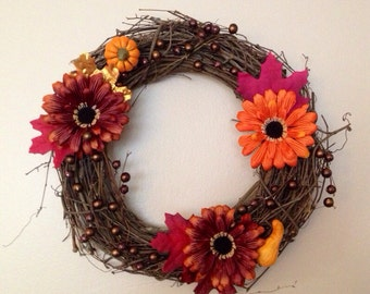 "13"" Fall Sunflower Wreath"